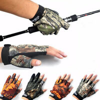 3 Shorter Finger Waterproof Fishing Gloves Hunting Anti-Slip Mitts Shooting Camo