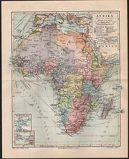 Landkarte map 1905: AFRIKA Politische Übersicht. Maßstab: 1 : 38.000.000 Africa