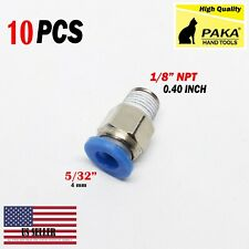 "10 X Male Straight Connector Tube Od 5/32"" X Npt 1/8 Pu Air Push In Fitting"