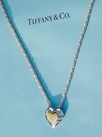 TIFFANY & Co 18 CARATS 18K or cœur argent sterling Puzzle 45.7cm collier