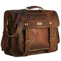"""Men's Large Briefcase Brown 16"""" Laptop Bag Vintage Leather Messenger Satchel NEW"""