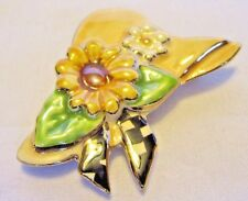 Multi-color Garden Bonnet with Flowers Brooch / Pin - Good Used Condition
