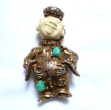 vintage HAR standing laughing JEWELED BUDDHA Asian China man BROOCH pin