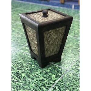 Wood Square Wastebasket Dustbin for Bedroom, Bathroom, Living Room