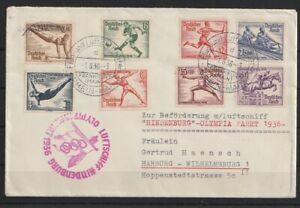 Y147) Zeppelin Beleg Deutschland Olympiafahrt 1936