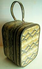 Vintage Retro Zipper Faux Snakeskin Vanity Travel Train Case Hat Box Luggage
