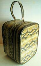 Vintage Retro Zipper Faux Snakeskin Vanity Travel Train Case Hat Box Luggage
