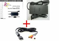 SLIM AC ADAPTER CHARGER POWER CORD SUPPLY FOR SONY PS2 + AUDIO VIDEO AV CABLE