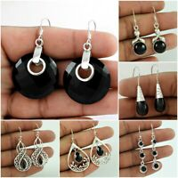Black Onyx Gemstone Dangle Earring 925 Sterling Silver Christmas Gift Jewelry