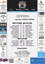 Teamsheet-Burnley V Oldham Athletic 2008/9 Taza de Liga