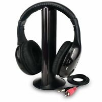 New 5 in 1 Headset  Hi-Fi Wireless Headphone Earphone for TV DVD MP3 PC Black