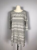 Soft Surroundings Gray Geometric Print 3/4 Sleeve Tunic Blouse Women's S