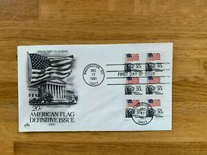 USA US 1981 FDC ART CRAFT BOOKLET PANE x 6 STARS & STRIPES 20 CENT