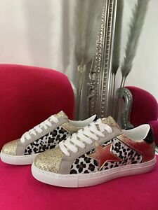 Gold Leopard Print and Star Trainers sizes 3 - 8 NEW