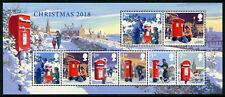 GB 2018 MNH Christmas Letter Pillar Boxes 8v M/S Stamps