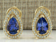 3.50 Ct Pear Cut Blue Tanzanite Halo Diamond Stud Earrings 14K Yellow Gold Over