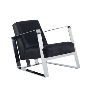 Genuine Black Hair-On Leather Stainless Steel Arm Chair