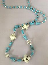 Max Neiger Blue White Czech Glass Art Deco Egyptian Revival  Necklace