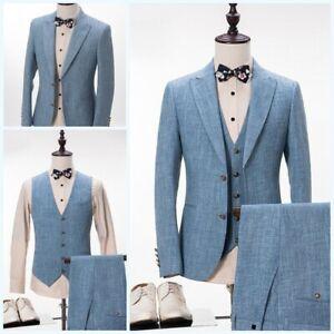 Men's Linen Long sleeve Suit 3 Piece Wedding formal Business Blazer Jacket Chic