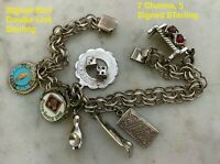 Vintage Signed Elco Sterling Double Link Charm Bracelet w 7 Charms 5 Signed Ster