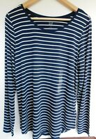 NWT Gap Women's Luxe Long Sleeve Navy/White Striped Top Small New MSRP $35