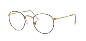 Ray Ban RX3447V 3105 50Metal Round Eyeglass Frames - Gold/Blue, Size 50mm