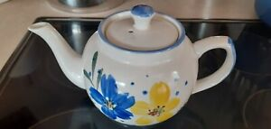 White Teapot with Blue & Yellow Floral Design