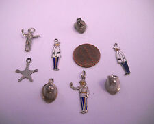 VINTAGE STERLING SILVER Figures of policeman  ETC MIXED LOT 8 CHARMS