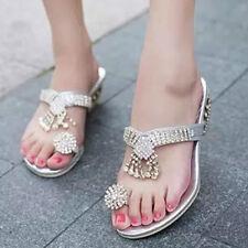 Women Rhinestone Wedge Heel Sandals Open-Toe Flip Flops Wedding Shoes Slippers_3