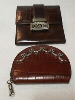 BRIGHTON Vintage Brown Croc Brown leather Tri-Fold + Purse Wallet Lot(2)