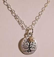 Tree of Life & White Freshwater Pearl Necklace Handcrafted~* Sundance Artisan *~