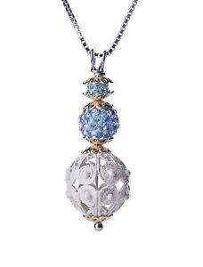 Ciondolo in argento 925 con vernice bianca da donna con pietre  incastonate blu