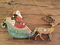 Santa In A Sleigh 'Old Time' Wood Christmas Decoration Gisela Graham Vintage