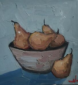PEARS STILL LIFE OIL PAINTING BY ARTIST VIVEK MANDALIA IMPRESSIONIST ARTWORK