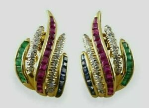 2.50 Ct Sapphire Ruby Emerald Diamond 14K Yellow Gold Finish Omega Back Earrings