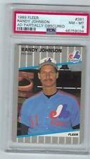1989 RANDY JOHNSON FLEER #381 AD PARTIALLY OBSCURED PSA 8