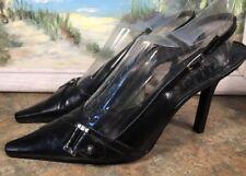 BCB Girls Slingback Stiletto Size 8.5B Black Cross Buckle Pointed Toe