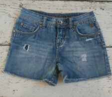JUSTICE Girls Denim Jean Shorts Frayed Cut Off Simply Low 10 EUC