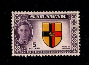 EDSROOM- 533 Sarawak Sc 194 George VI $5 1950 High Value Used Cat Val $18