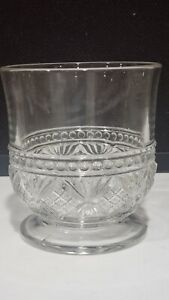"""ANTIQUE EAPG PRESSED GLASS 4.5"""" FOOTED SPOONER BEADED DIAMOND FAN"""
