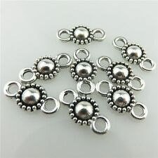 19738 100pcs Vintage Silver Alloy 13mm Flower Pendant Connector Findings Crafts