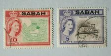 Sabah o/p on North Borneo 1950s - QE2 - Fine -  Used not hinged