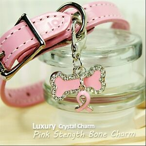 Dog/Cat Luxury Cute Collar Charm- Pink Stength Bone Pet/Animal Crystal Silver