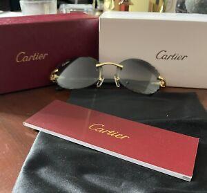 Cartier Rimless Frame Genuine Buffalo Horn Golden Finish Glasses 100% Authentic