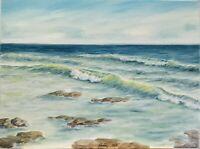 "Art 16""/12"" oil painting!!! Ocean view waves beach. Seascape. Rolling waves"