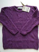 NWT Aran Crafts Sweater XXL 2XL Irish Merino Wool Purple Crewneck Women's New
