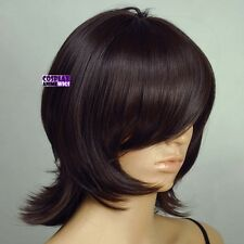 40cm Chestnut Brown Heat Styleable Long Bang Layered Flip Cosplay Wig 63_04A