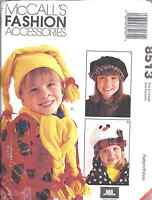 8513 Vintage UNCUT McCalls SEWING Pattern Kids Winter Accessories Hat Scarf OOP