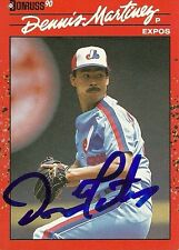 DENNIS MARTINEZ MONTREAL EXPOS SIGNED AUTOGRAPHED 1990 DONRUSS CARD #156 W/COA