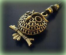 OWL BIRD PENDANT Jewelry ANTIQUE Art Deco Indian style - PUFFY 3-D OWL-Steampunk